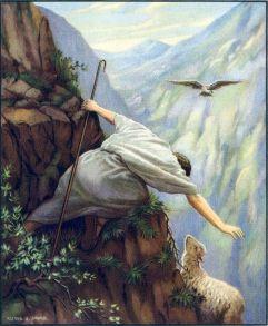Jesus saving lost sheep